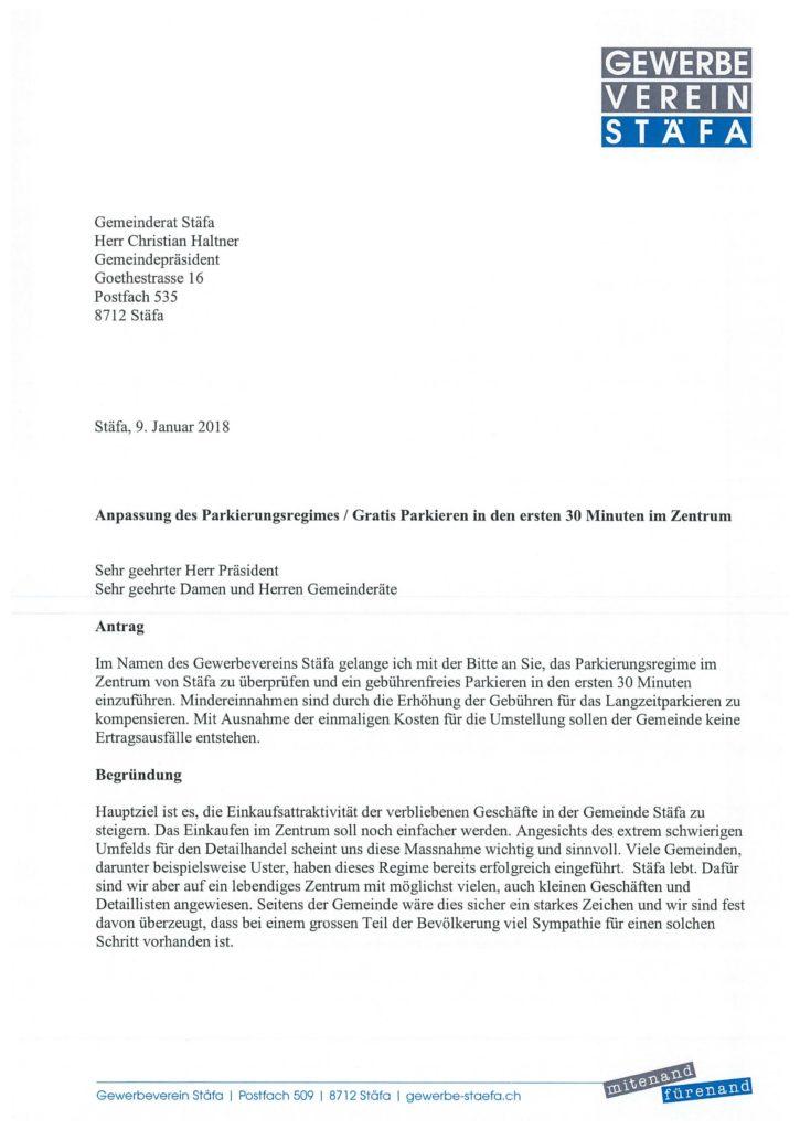 Brief Gemeinde Staefa-Parkplatzregime