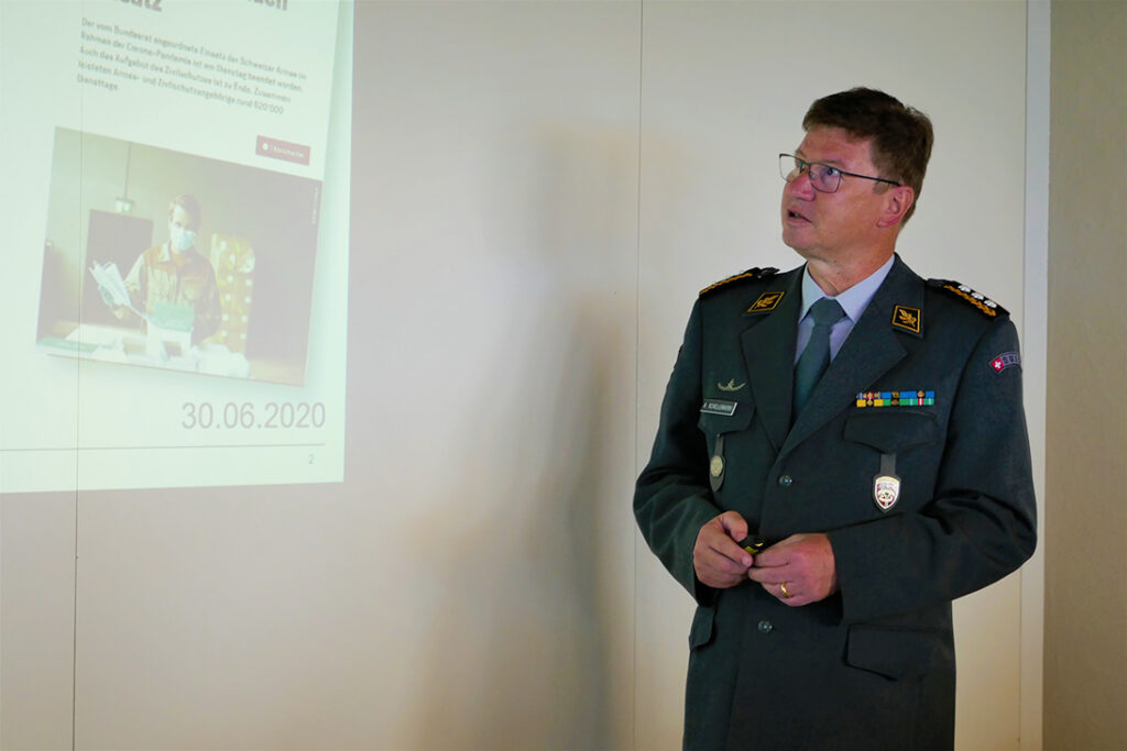 Aldo C. Schellenberg, Korpskommandant und stellvertretender Armeechef Schweizer Armee: Referat über den Einsatz der Schweizer Armee während des Lockdowns